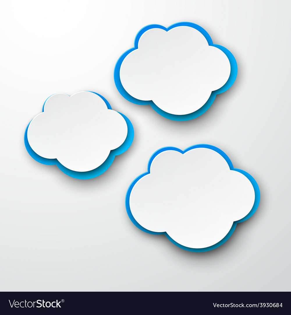 Set of paper whiteblue clouds vector