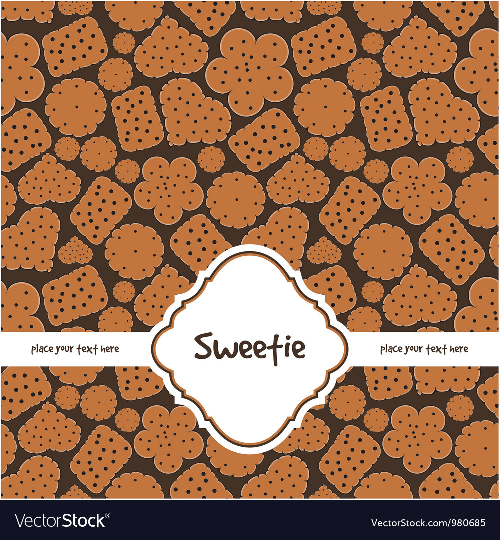 Card with sweet cookies on brown vector