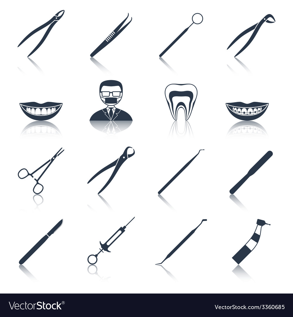 Dental instruments icons set black vector
