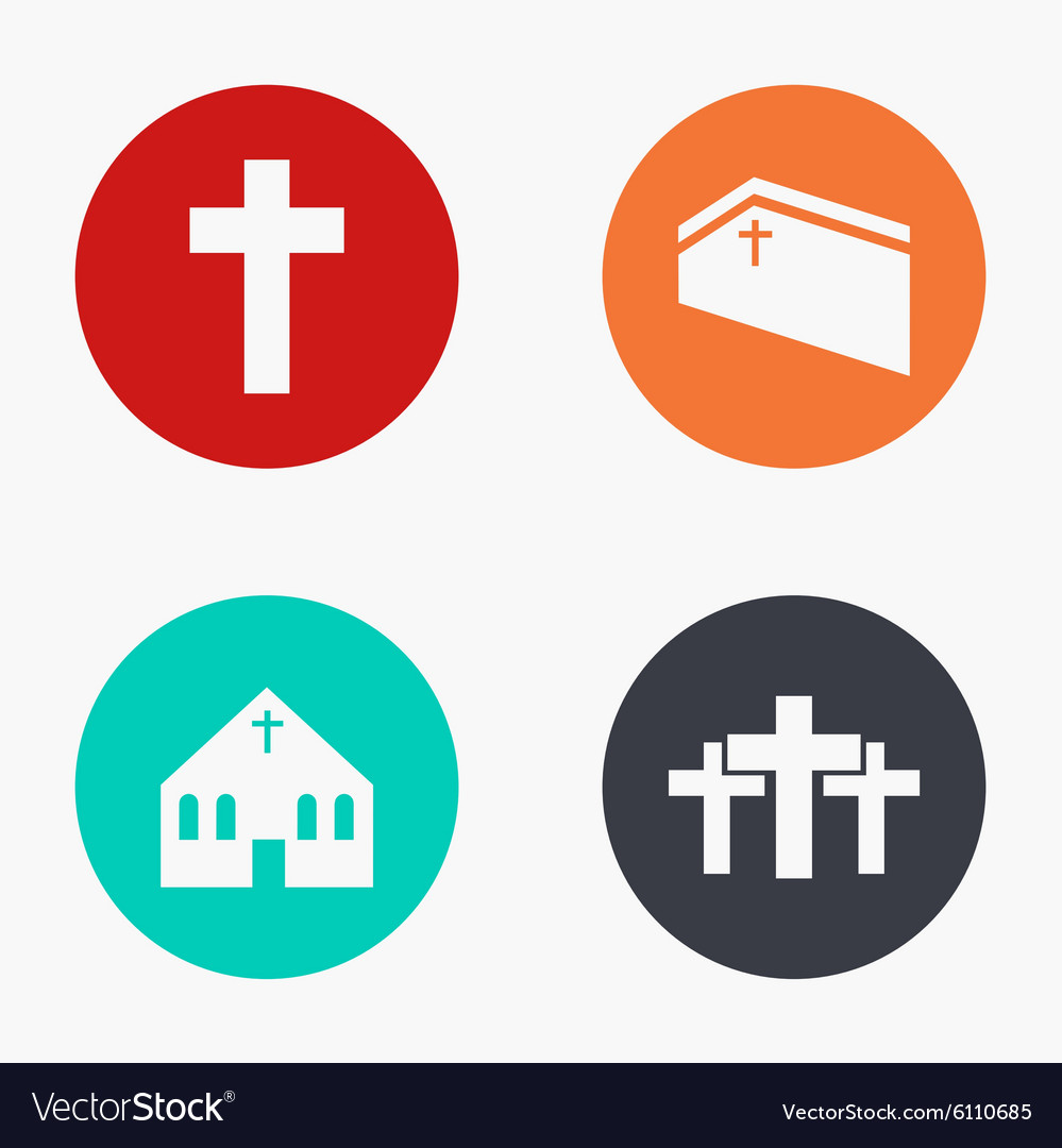 Modern church colorful icons set vector