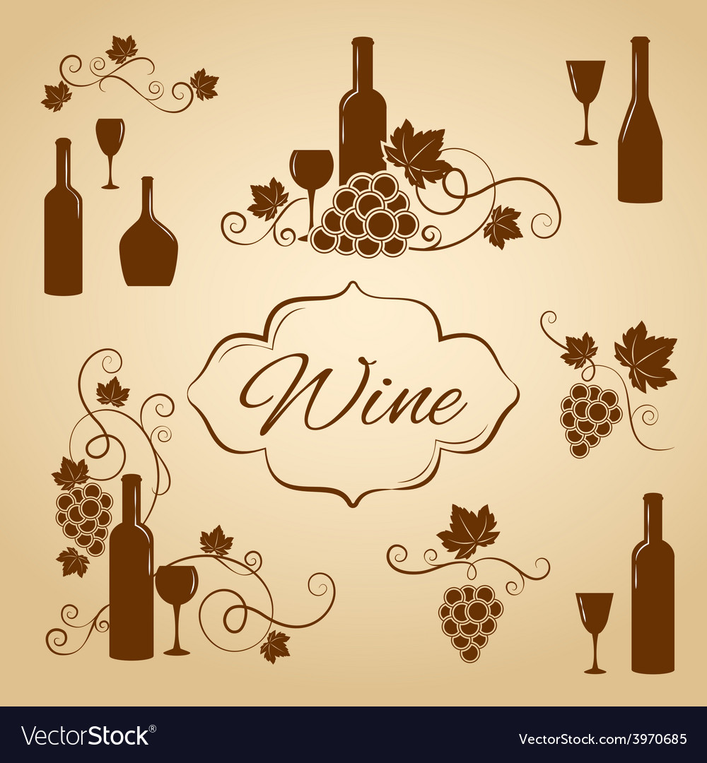 Vintage wine design elements for menu vector