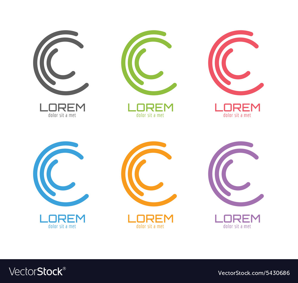 C logo template set abstract circle shape vector