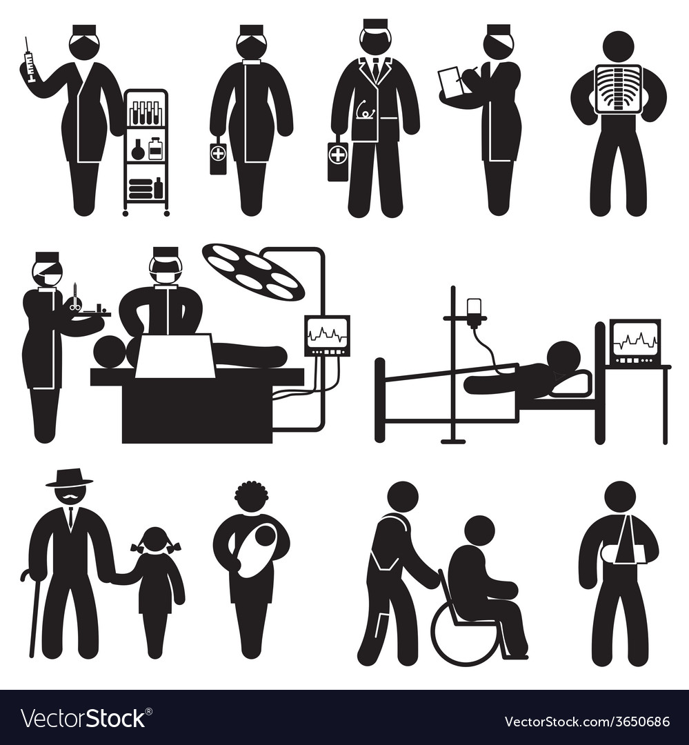 People medicine icons vector