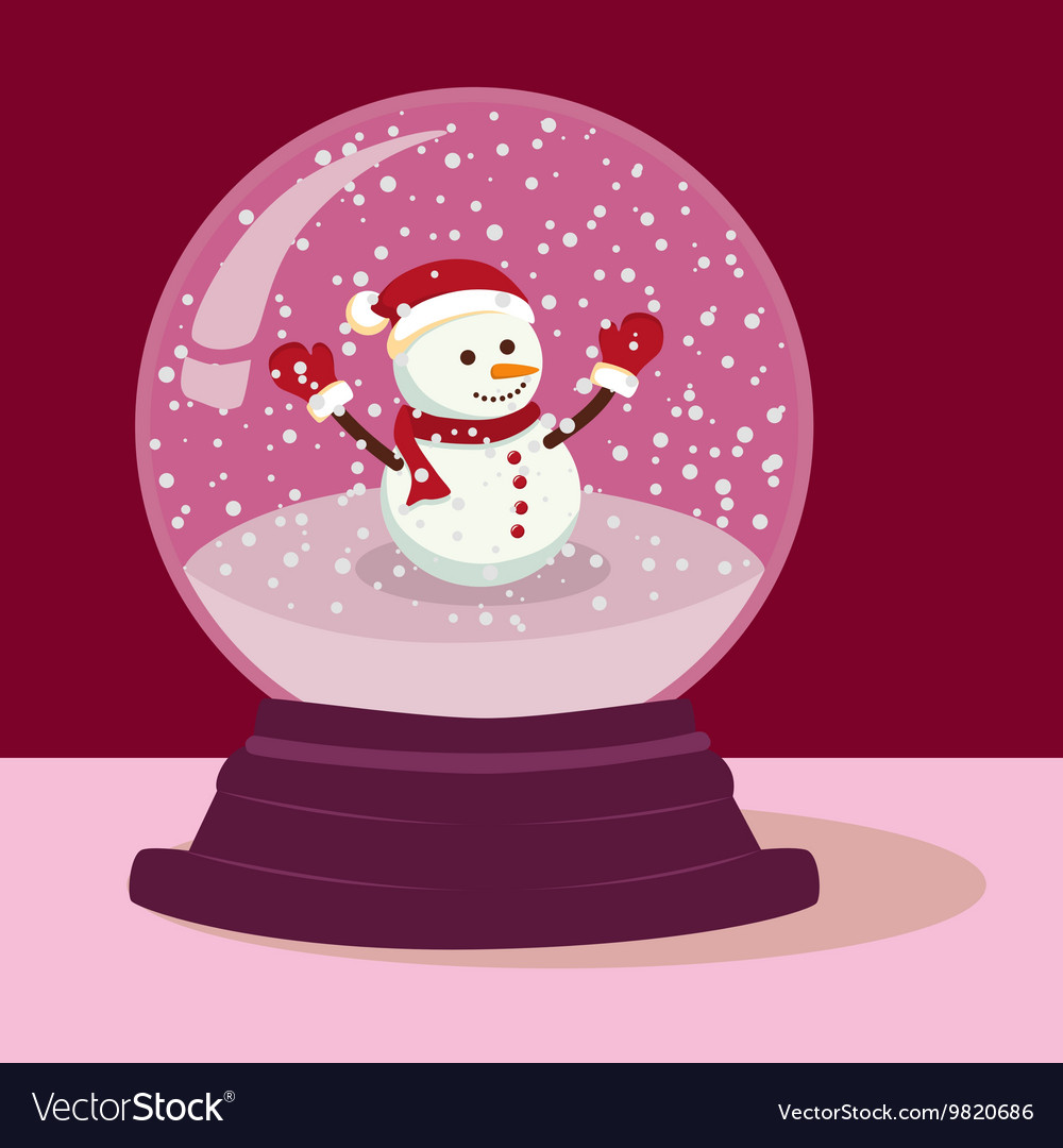 Purple snowman snow ball vector