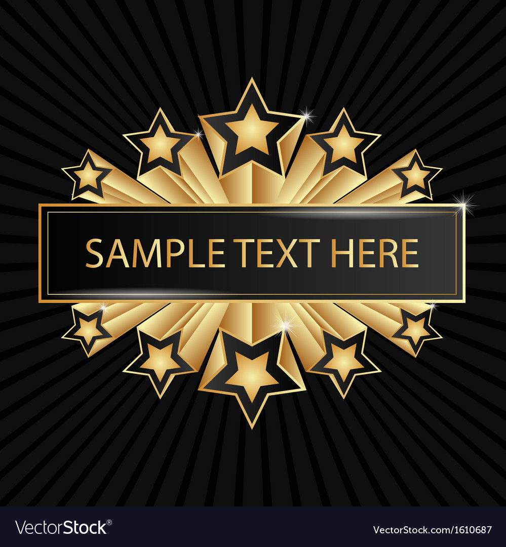 Beautiful golden banner with shining stars vector