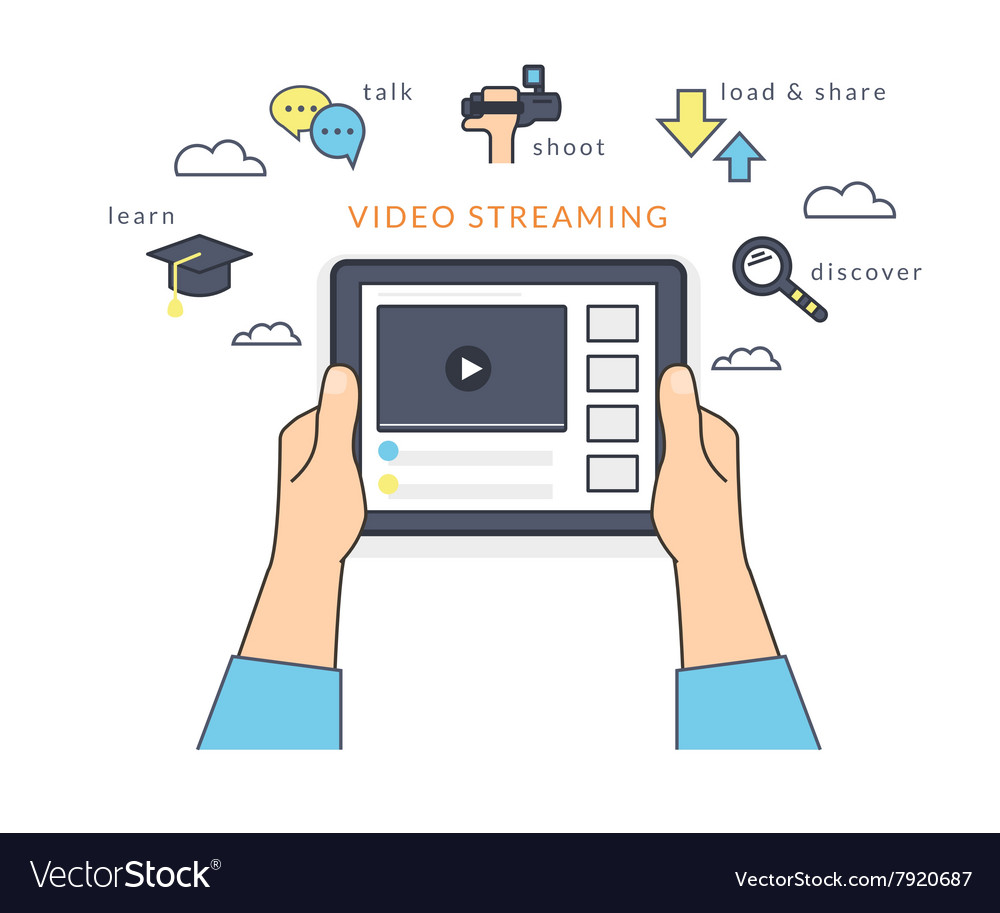 Human hand holds a tablet pc and watching a video vector