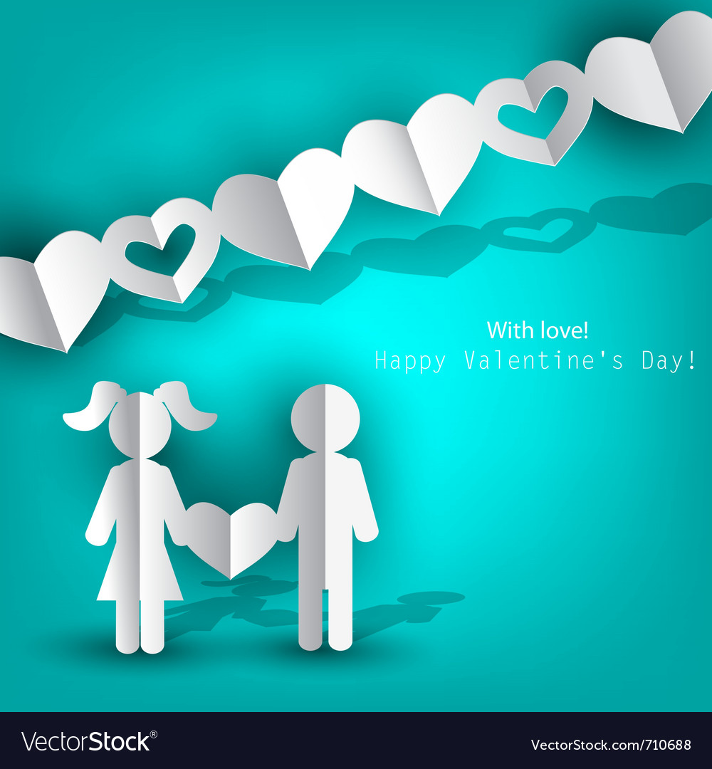 White paper men and woman with heart on blue backg vector