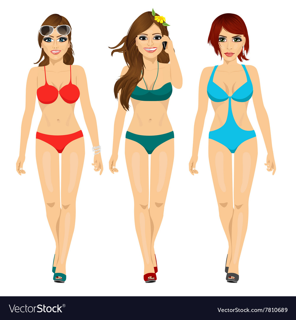 Three beautiful fashion girls walking in bikini vector
