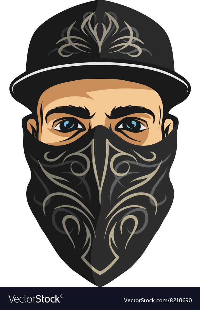 A guy in a bandana with a pattern vector