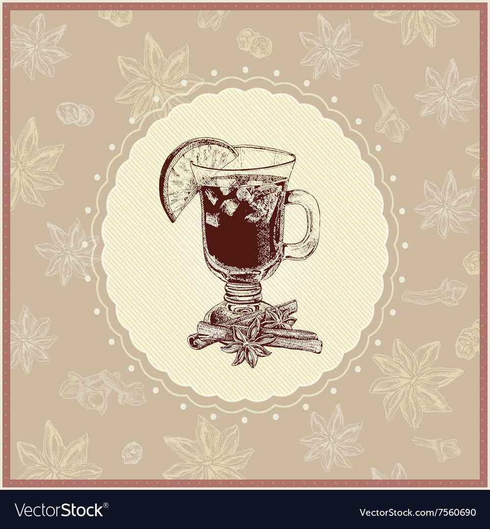 Gentle mulled wine with seasoning vector