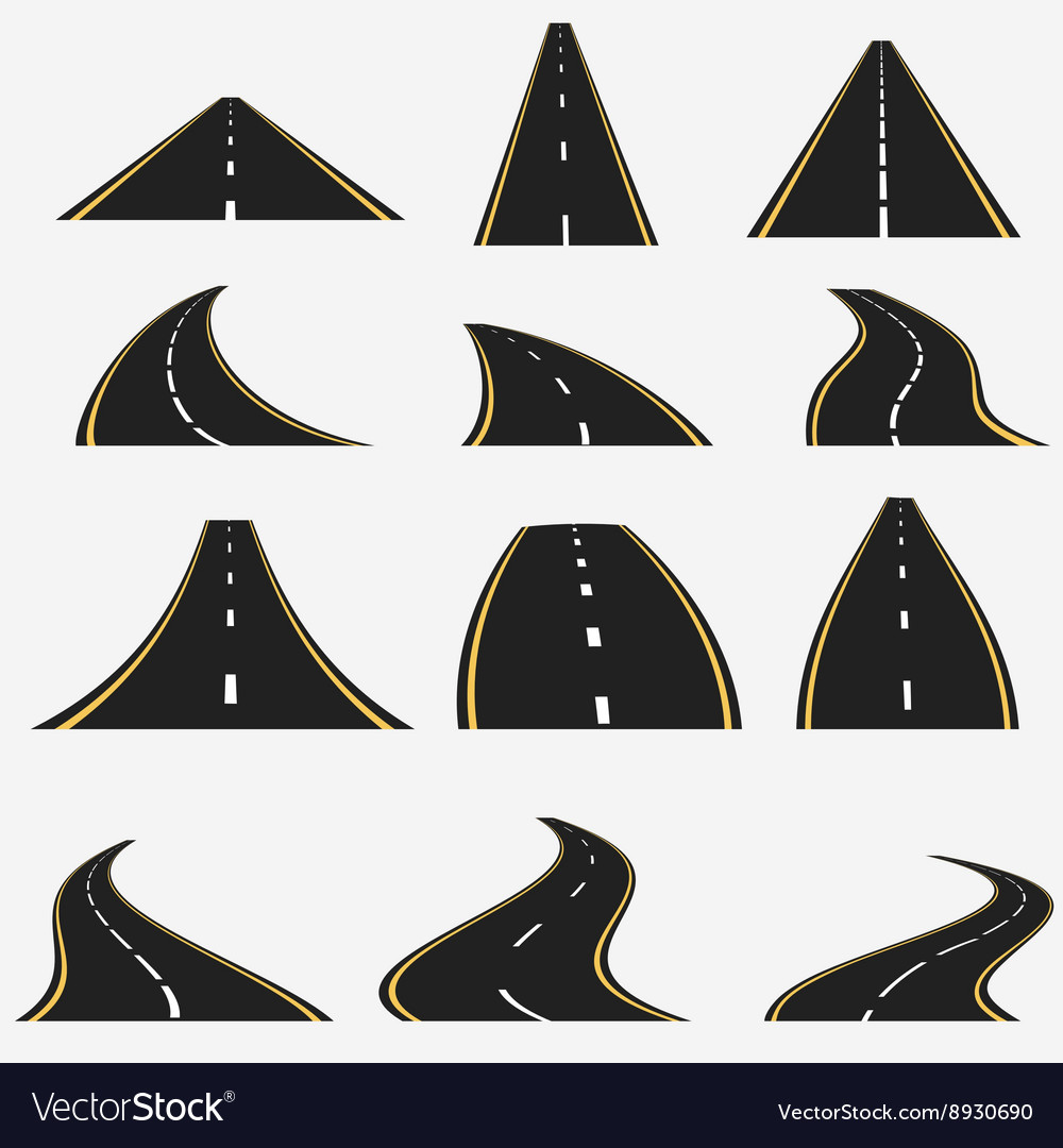 Road line set vector