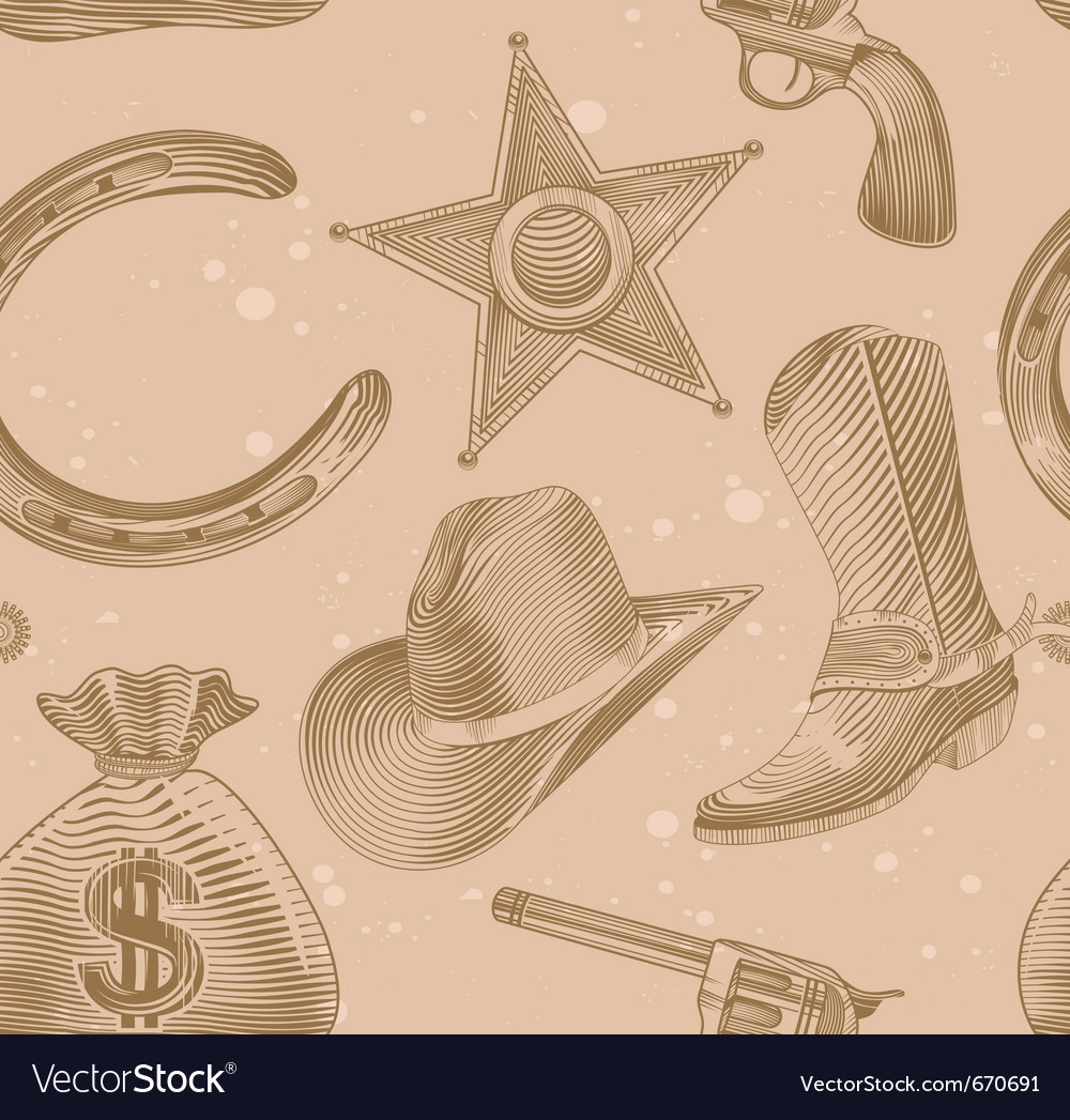 Seamless cowboy pattern in engraving style  vector
