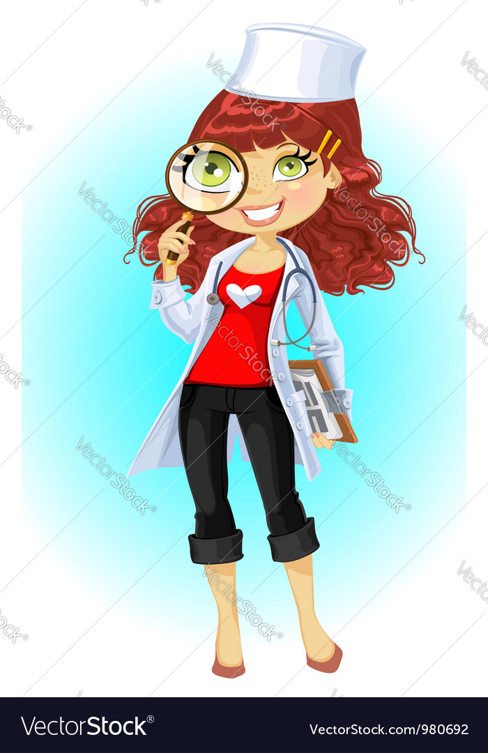 Cute brownhaired young woman doctor vector