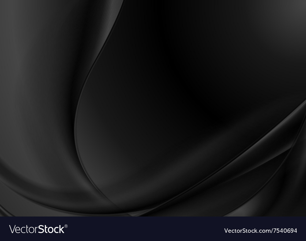 Black abstract smooth waves background vector
