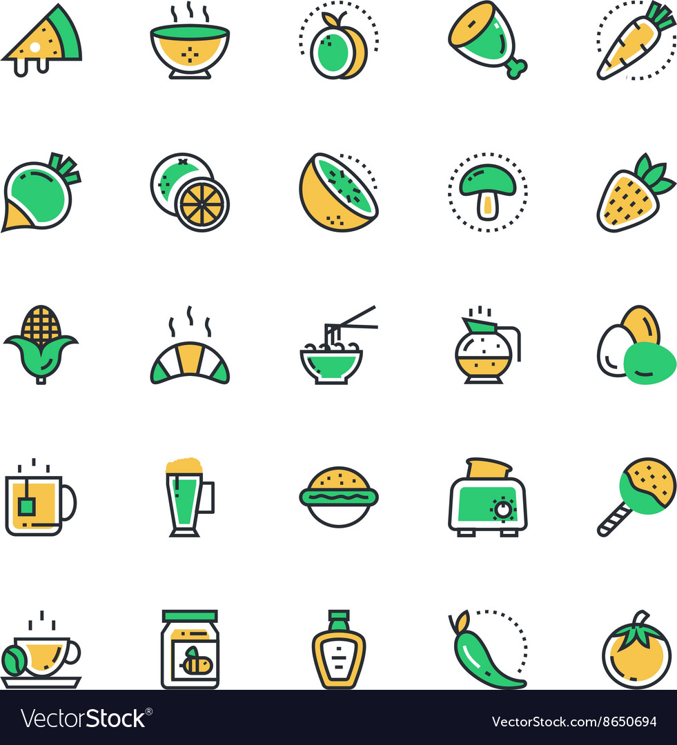 Food vegetables icons 3 vector
