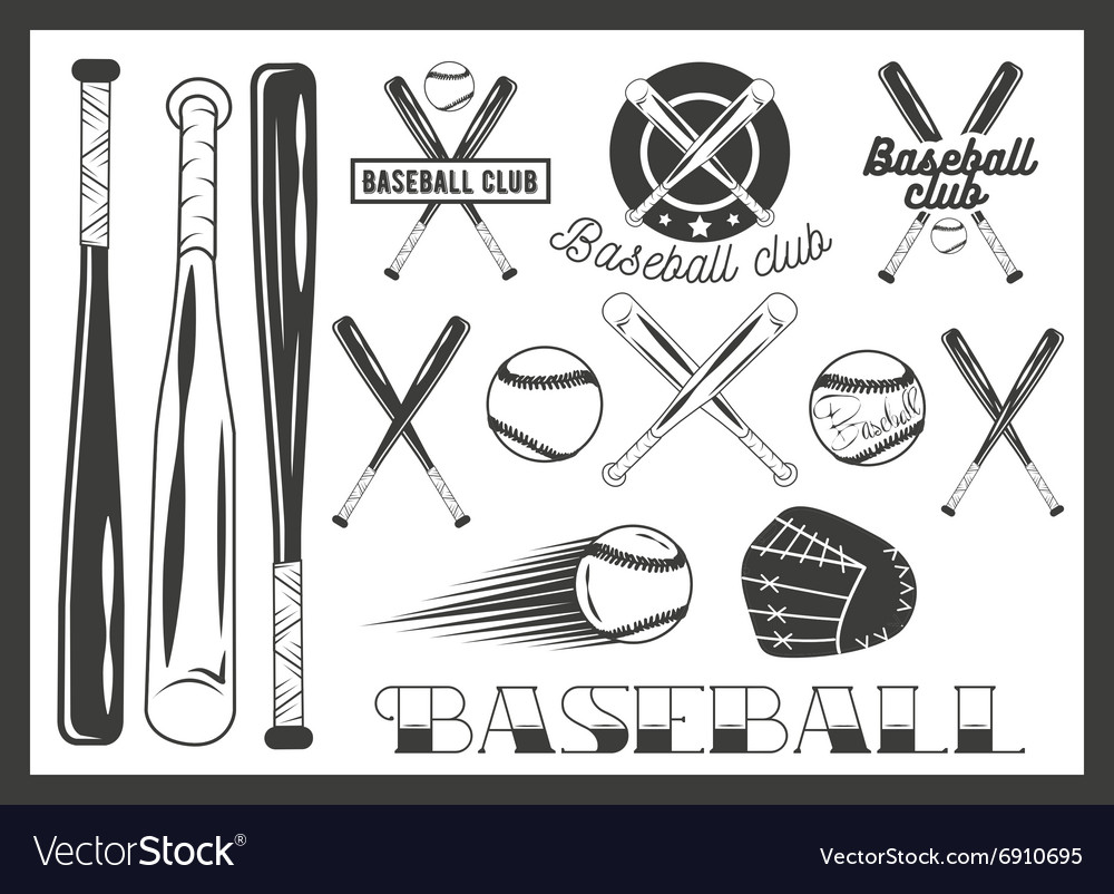 Set of baseball club emblem label badges vector