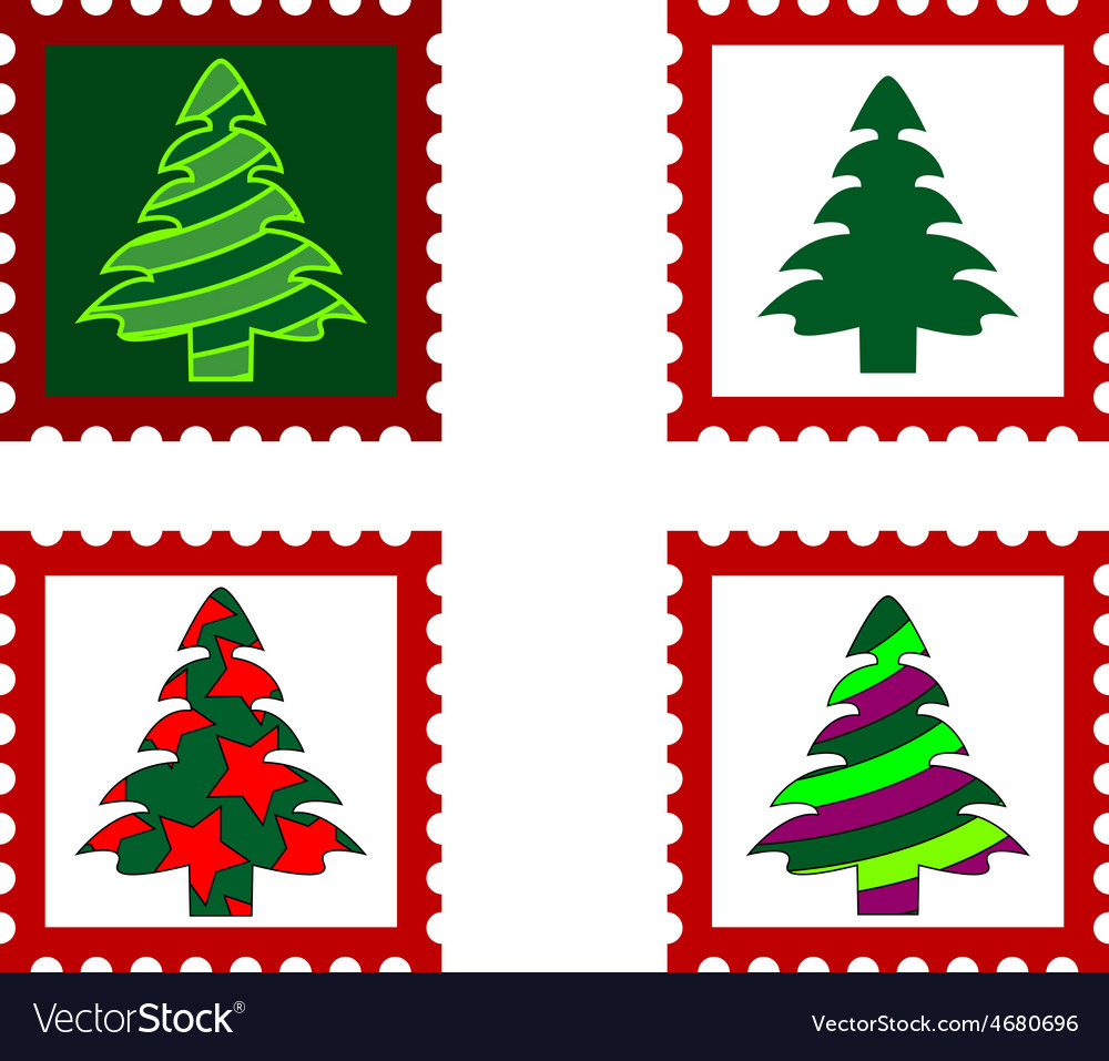 Christmas postal stamp vector