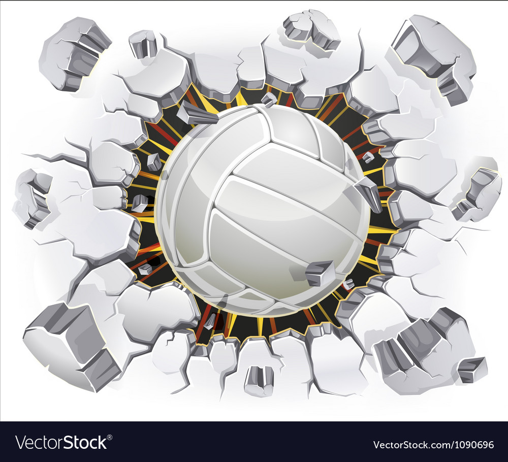Volleyball and old plaster wall damage vector