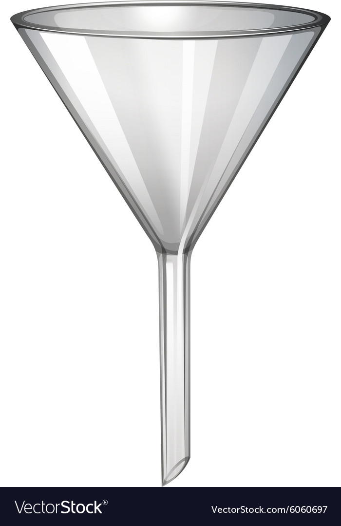 Glass funnel on white vector