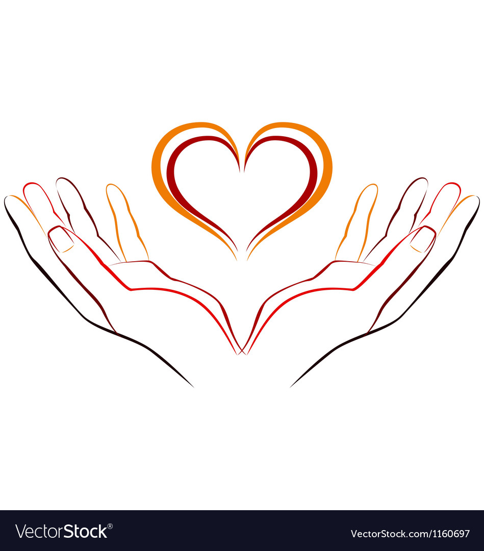 Hand with love vector
