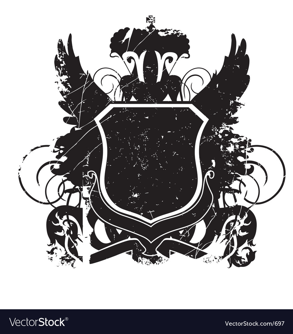 Heraldry shield version 01 grunge vector