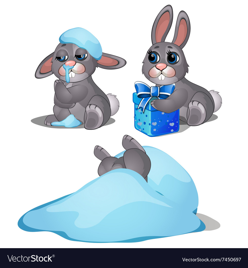 Playful hare frozen in the snow three images vector