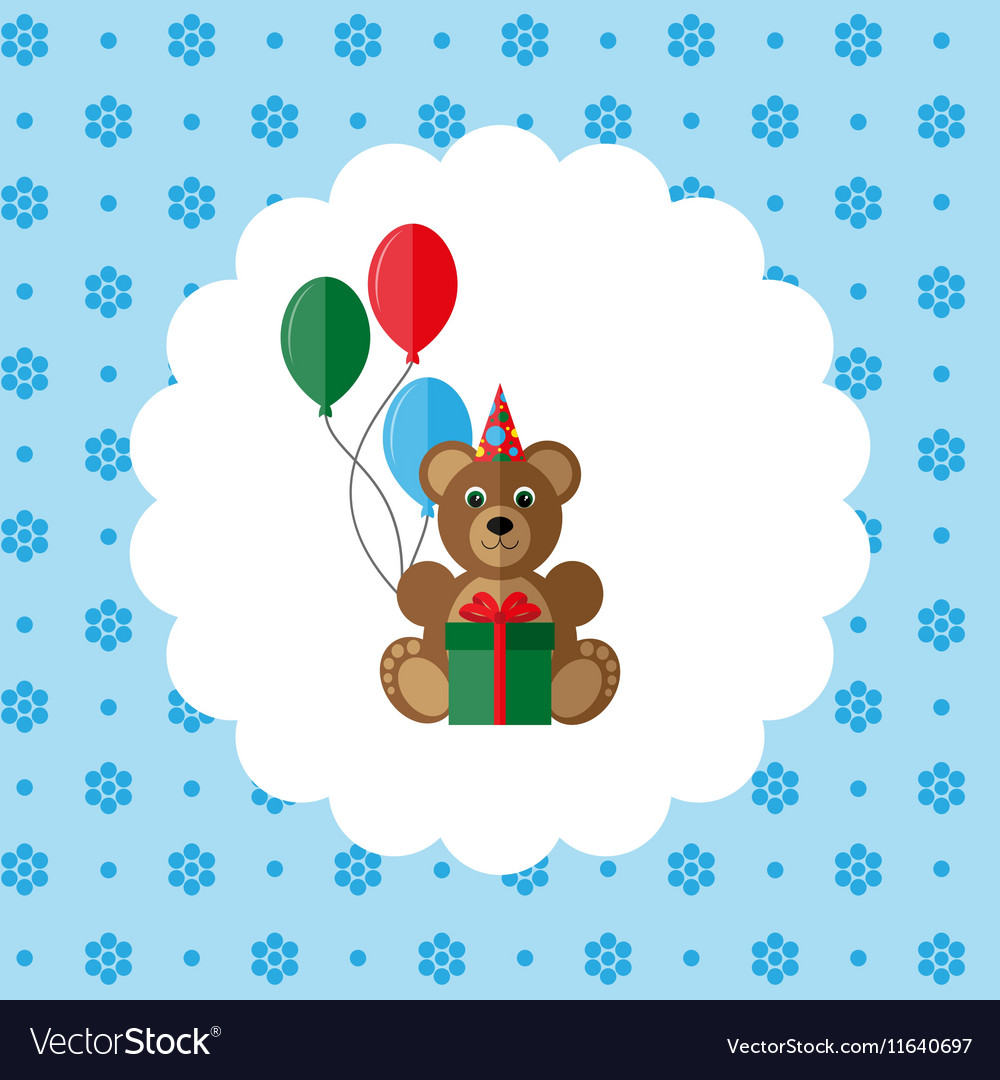 Teddy bear in cap with balloons and gift vector