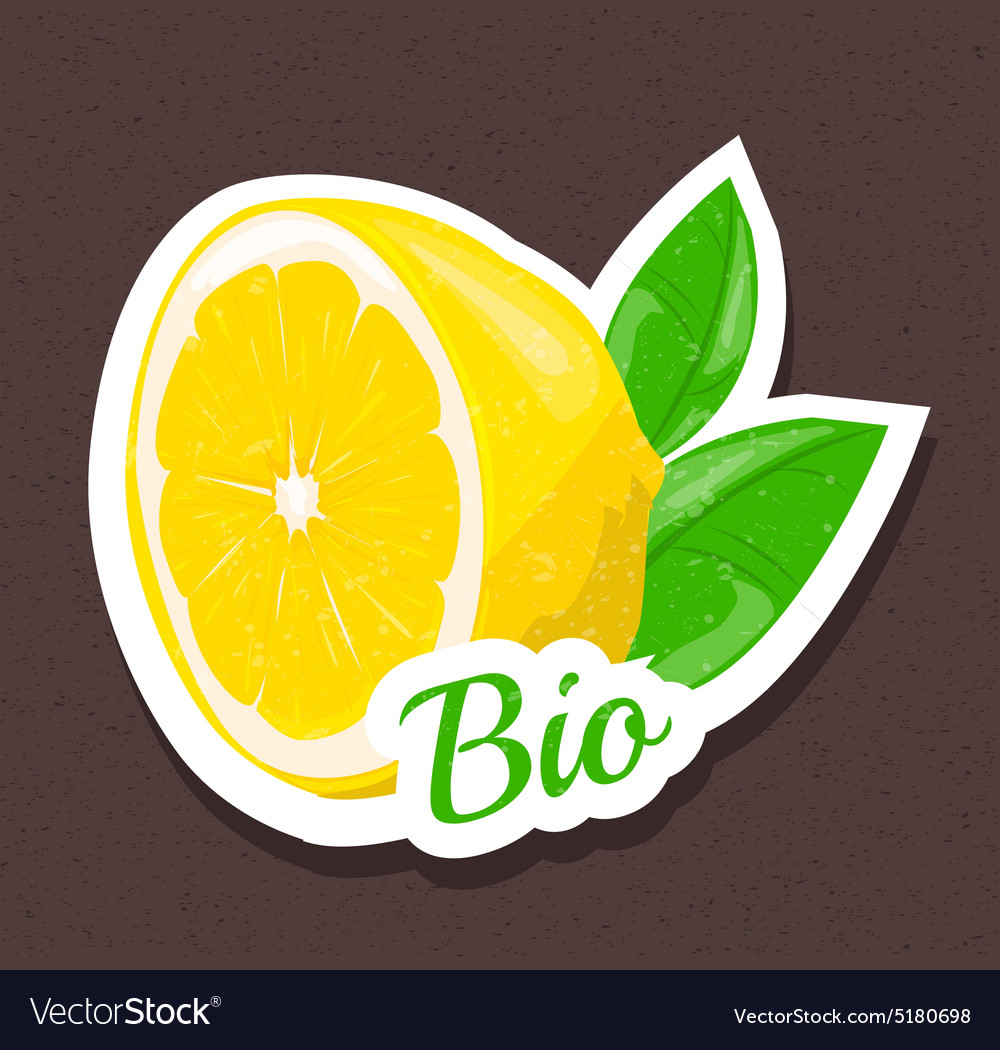 Bio lemon tag vector