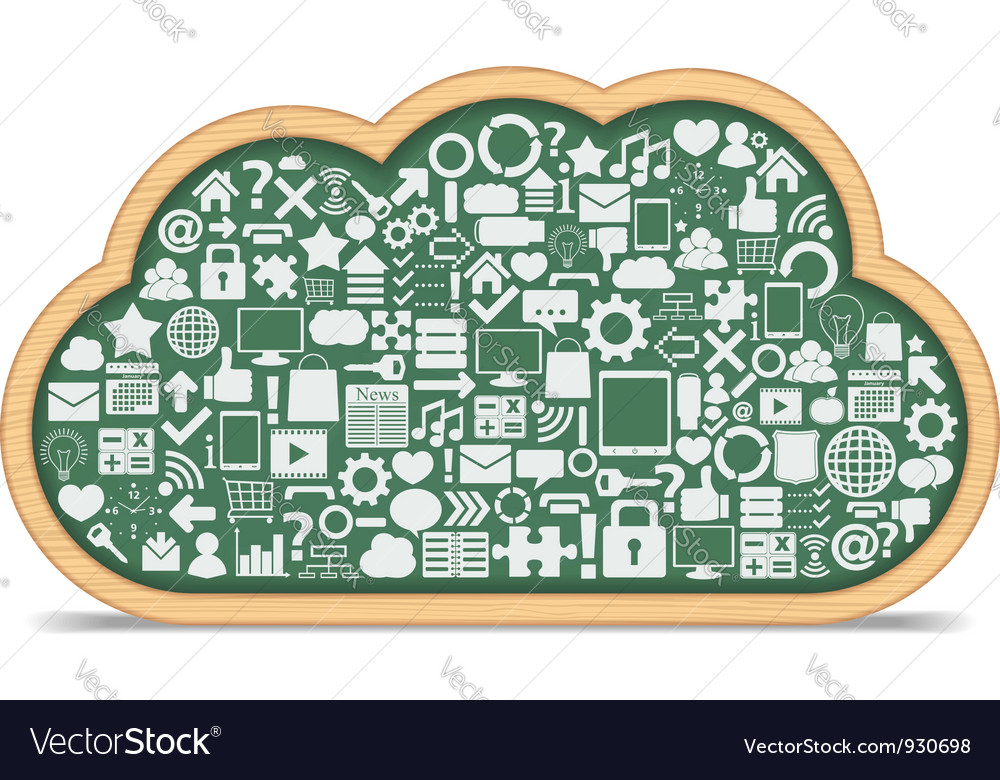 Blackboard cloud with icons vector
