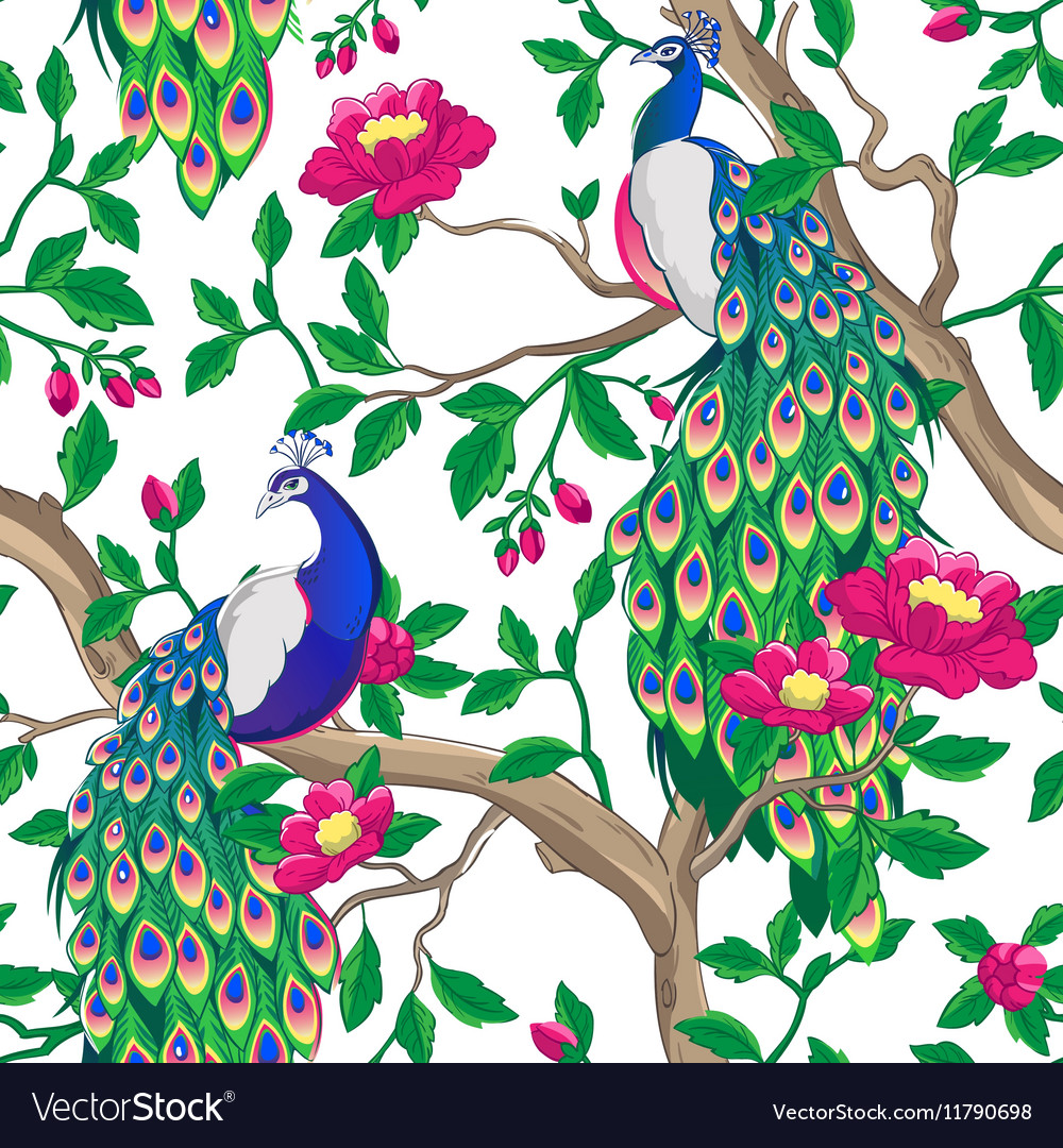 Floral pattern with peacock and pink flowers vector