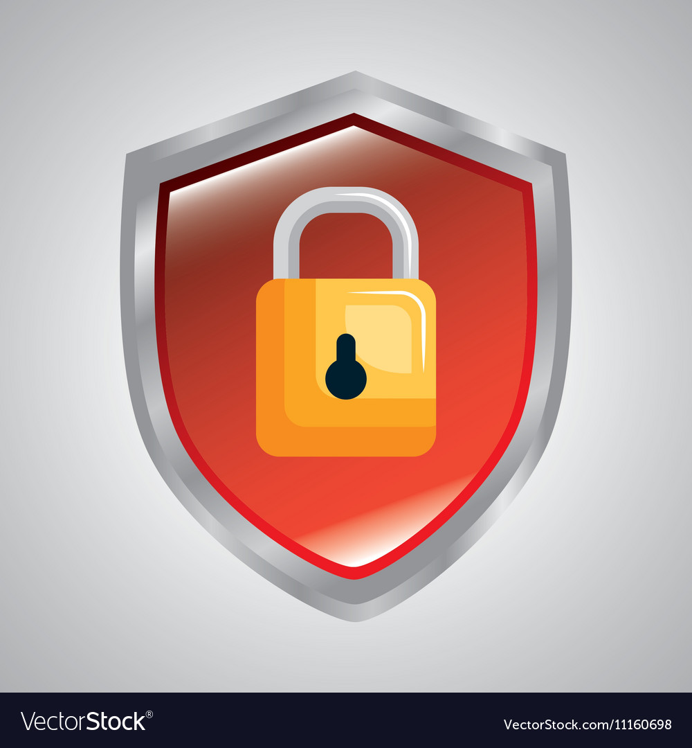 Shield protection padlock secure system data vector