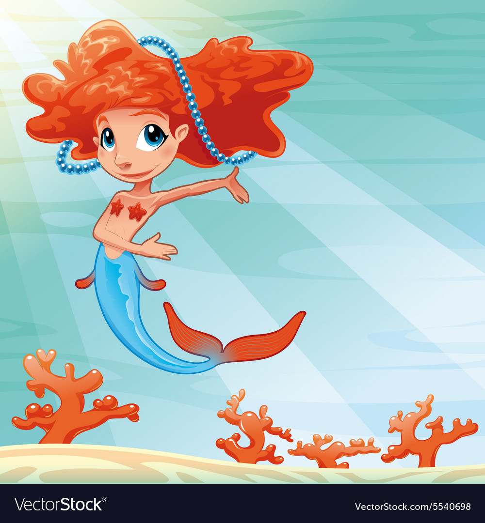 Young mermaid with background vector