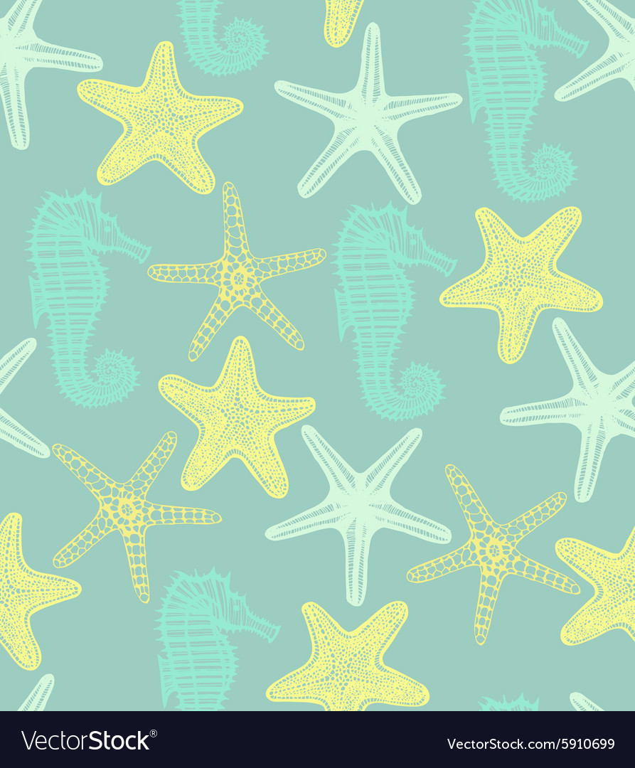Background with starfishes and seahorse vector