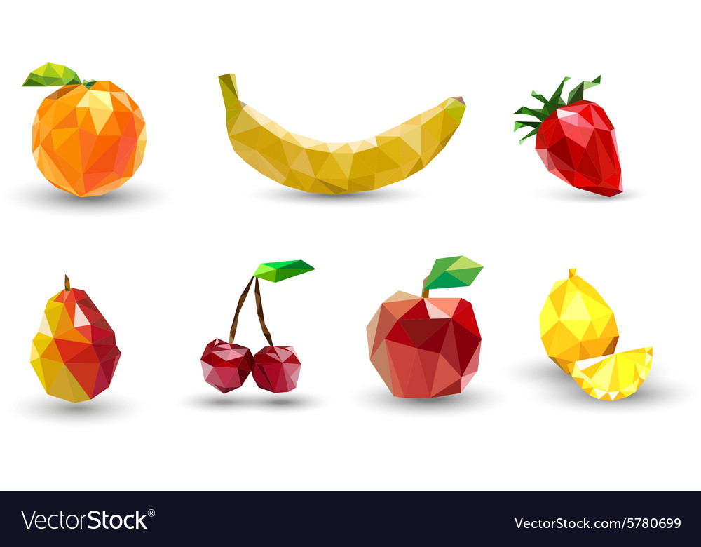 Fruit set of polygons vector