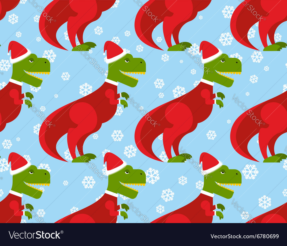 Trex santa claus seamless pattern christmas vector