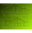 House facade on green background blueprint vector image