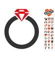 diamond ring icon with love bonus vector image