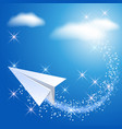paper airplane in the sky vector image