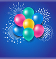 Colorful balloons with fireworks for celebration vector image