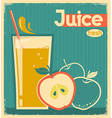 red apple juice on old paper vintage card vector image