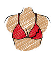 colored drawing pencil of woman with red swimsuit vector image