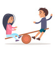 girl and boy ride seesaw isolated vector image