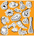 halloween doodle stickers vector image