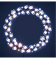 Light garlands on dark background Christmas vector image