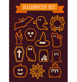 Set of halloween silhouette icons vector image