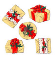 set of icons in flat style for christmas vector image