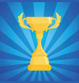 award trophy  cup of the winner on a blue striped vector image