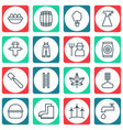 set of 16 planting icons includes stairway vector image