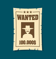 Vintage wanted poster flat vector image