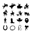 Rodeo Black Icons Set vector image